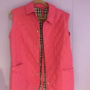 Pink Burberry Quilted Vest